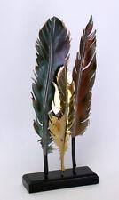 Deco Objeto Pluma Metal 52cm Plata Oro Cobre Figura, Escultura Salón Estilo