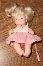 "4 1/2"" Mini Baby Doll Made in China Pink Flower Dress Blonde Hair Toy Used"