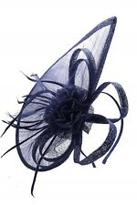 Large Hat Navy Fascinator Wedding Ladies Day Race Sinamay Headband and Clip UK