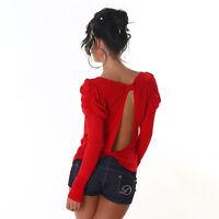 Sexy Sweatshirt Shirt Pulli Pullover langarm Top Rot Rücken Frei 34 36 38