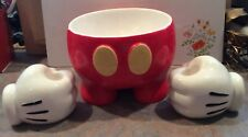 Disney Mickey Mouse Red Pants Bowl & White Gloves Candle Holders Treasure Craft