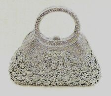 Silver Vintage Floral Pattern Handmade Austrian Crystal Evening Cocktail Bag NEW