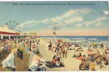 "Boardwalk CAROLINA ""South Miracle"" BEACH NC Ferris Wheel 1950s Linen Postcard"