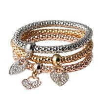 Fashion Women 3Pcs Gold Silver Rose Gold Bracelets Set Rhinestone Bangle