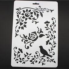 DIY Craft Bird Vine Flower Layering Painting Stencils Scrapbooking Stamps Album