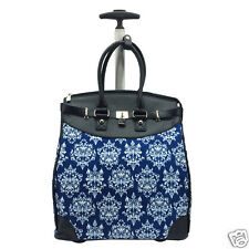 DAMASK PRINT Foldable Carry-on Rolling Tote for Traveling and Shopping