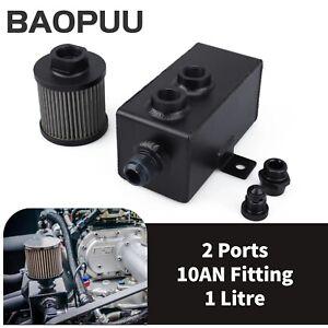 1L 10AN Oil Catch Can Reservoir Tank Breather Filter Baffled Kit Black Aluminum