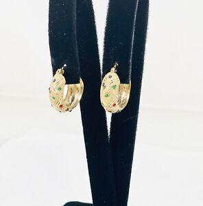 #9445-46 - Festive 14K Gold Ruby, Emerald, & Sapphire Colored Drop Hoop Earrings