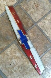 """- 1955 Chevrolet Hood Plastic Emblem Nice Color, Could Use Touch Up - 11"""" Long"""