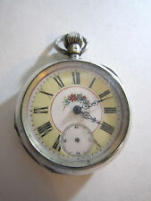 Antique 800 Silver Pocket Watch Fancy DIal Hallmark Switzerland