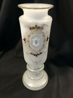 """Antique Victorian Bristol Art Glass Vase Frosted Enameled Design Pontil 8 1/2"""" T"""