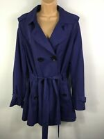 WOMENS HOBBS PURPLE DOUBLE BREASTED BELTED LIGHTWEIGHT FITTED COAT SIZE UK 16