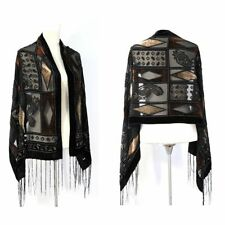 Vintage Geometric Art Silk Burnout Velvet Fringed Scarf Shawl Wrap