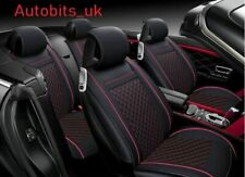 Black & Red PU Leather Full Set Seat Covers Padded For Kia Hyundai
