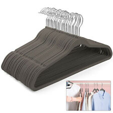 50 Non-Slip Flocked Velvet Hanger Coat Clothes Trouser Hanging Hangers Bar Black