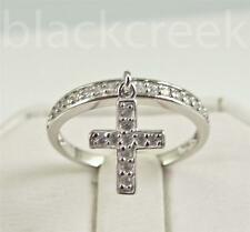 925 Sterling Silver ~   Dangle Cross Ring ~ .25cttw Cubic Zirconia ~ Size 8