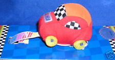 NasCar~Red Plush Soft Car Baby Pacifier Clip~Checkerboard~Racing Fan~New!