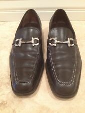 SALVATORE FERRAGAMO Black Leather Loafer Silver Iconic Gancini Horse Bit 11.5 EE