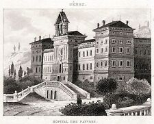 GENOVA: Albergo dei Poveri.Liguria.Regno di Sardegna. ACCIAIO.Stampa Antica.1838