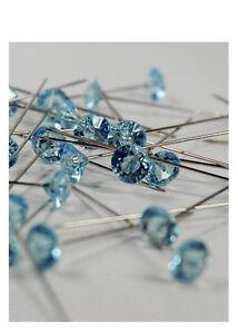 100 CLEAR CRYSTAL RHINESTONE WEDDING BOUQUET CAKE PINS JEWELS PICKS GEMS BLING