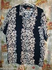 Pineapple Connection Aloha Shirt Size L Hawaiian Rayon black White Hibiscus