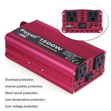 Inversor de Energía 1500W DC 12V a AC 110V Coche Convertidor Power Inverter USB