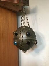 Antique Pierced & Jeweled Brass Candle Lamp Lantern
