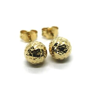 18K YELLOW GOLD EARRINGS DIAMOND CUT WORKED FACETED BALLS SPHERES 6mm