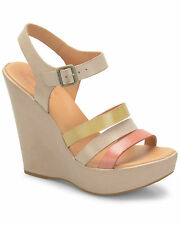 Kork-Ease Fay Natural Leather Wedge Sandals Size 39 M $155 Retail New