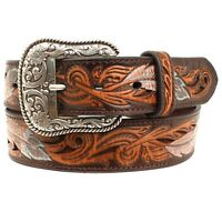 Ariat Men's Turquoise Multi Feather Brown Leather Scroll Belt A1034008