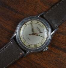 Vintage GRUEN Bumper Automatic Stainless Steel Men's Watch Leather Band 460SS