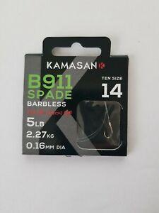 KAMASAN B911 SPADE END BARBLESS HOOKS TO NYLON