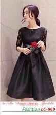 Vintage Women Lace Floral Peacock Formal Evening Party Dress/ Black
