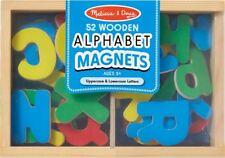 Melissa & Doug WOODEN LETTER ALPHABET MAGNETS Colourful Spelling Game Kid BN
