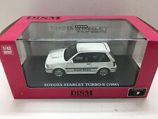 1:43 TOYOTA STARLET TURBO S (1986) DIECAST MODEL CAR GLANZA V AOSHIMA DISM WHITE