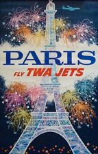 TWA FLY PARIS Vintage Travel poster 1962 25x40 AIRLINES DAVID KLEIN Not repro