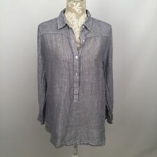 Pre-Owned: LUCKY BRAND Womens Blue White Striped Long Sleeve Half Button M