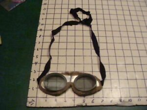 VINTAGE FOLDING AVIATOR OR MOTORCYCLE GLASSES GOGGLES STEAMPUNK FRENCH