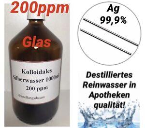 1 x Kolloidales Silberwasser 1000ml, 200ppm, hochrein, hochkonzentriert, frisch!