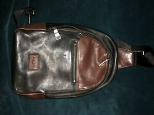 Coach Men's Leather Sling Backpack Black And Brown
