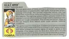 1989 Cobra HEAT Viper v.1 FILE CARD #2 gray filecard bio original GI Joe JTC