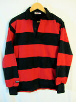 Barbarian Rugby Wear Men's 100% Cotton Long Sleeve Shirt Size S Black Red