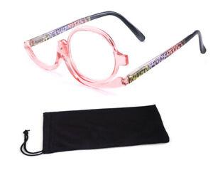 Magnifying Make Up Makeup Glasses Flip Lenses + Pouch