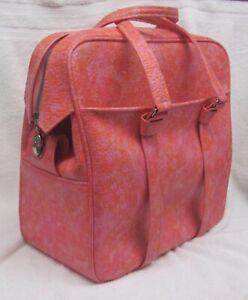 RARE 60s Vintage Samsonite Silhouette Tote Travel Bag PINK ORANGE Soft Carry-On