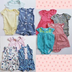 Carter's Baby Girl Bodysuit Romper Size 3 & 6 Months Onepiece Lot of 10