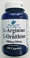 L-Arginine/L-Ornithine 1000mg/500/mg 200 Caps Hi Potency Amino Acid Gluten Free