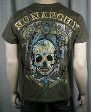 MONARCHY Mens Muerte Skull T Shirt Crew Neck Coffee XXL
