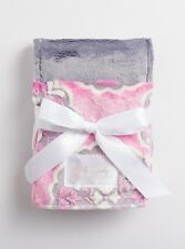 Bubble Gum/Gray Posh by Baby Laundry-Minky Burpies-Set of Two