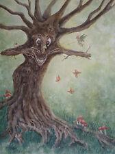 Fantasy aquarelle. Original, ent Fée Arbre Nature Papillons réalisme