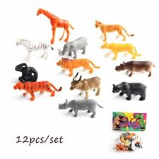 12PCS/set Gift Kids Animal Figure Play Model Toy Mini Tiger Giraffe Plastic